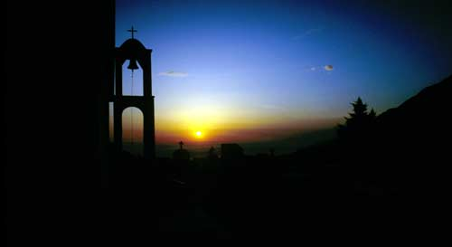 Crete: Sunset on a grave yard