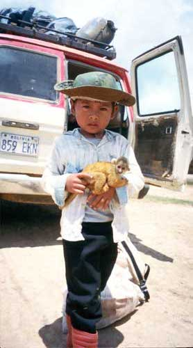 Bolivia, Rurrenabarque: Boy with a monkey