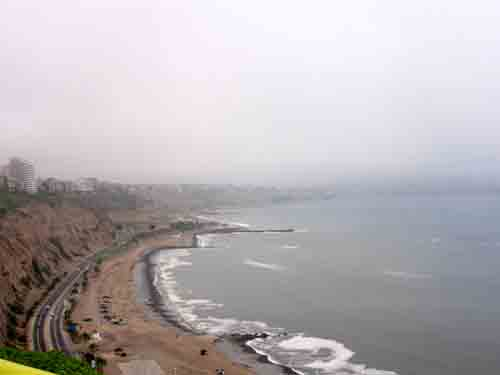 Peru: The coast of  Lima at         Miraflores