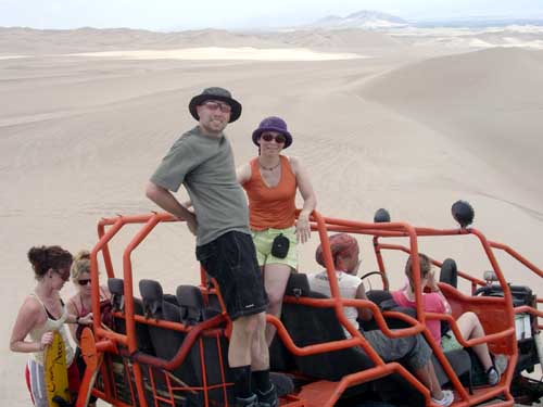Peru: Oasis Huacachina - Sand buggy roller coaster<br />         over the dunes