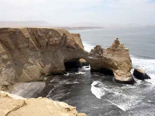 "Peru: Rock formation ""La Catedral""          Paracas National Park"