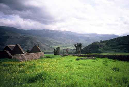 Peru: Ruins in Colca Canyon near Chivay