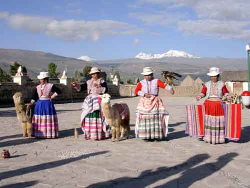 Peru, Colca Canyon: Local women in their traditional         costumes.