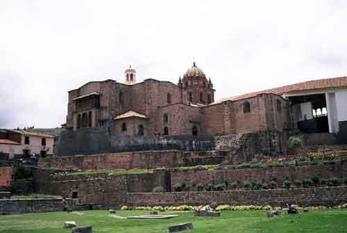 Peru, Cusco: Monastery Santa Domingo built on the ground walls of Inca temple Qoricancha